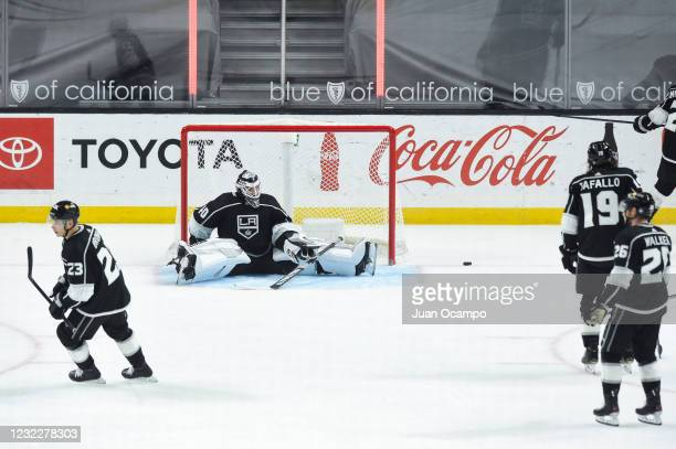 Calvin Petersen of the Los Angeles Kings reacts to Nicolas Roy of the Vegas Golden Knights goal during the second period at STAPLES Center on April...