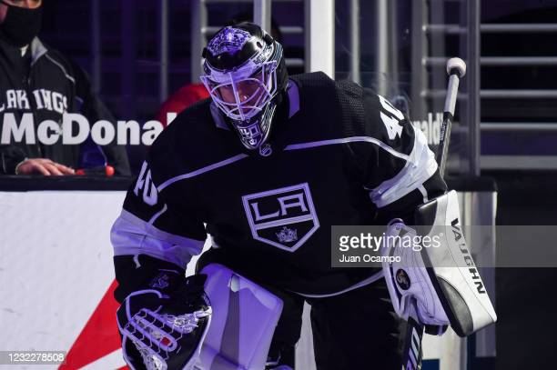 Calvin Petersen of the Los Angeles Kings takes the ice prior to the third period against the Vegas Golden Knights at STAPLES Center on April 12, 2021...