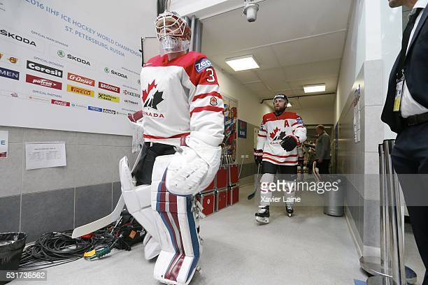 Calvin Pickard and Matt Duchene of canada during the 2016 IIHF World Championship between France and Canada at Yubileyny Sports Palace on May 16 2016...