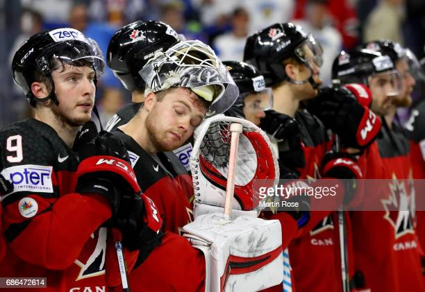 Calvin Pickard goaltender of Canada looks dejected after the 2017 IIHF Ice Hockey World Championship Gold Medal game Canada and Sweden at Lanxess...