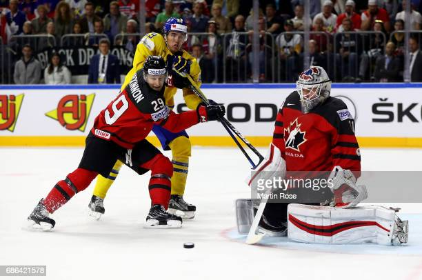 Calvin Pickard goaltender of Canada makes a save on Victor Rask of Sweden during the 2017 IIHF Ice Hockey World Championship Gold Medal game Canada...