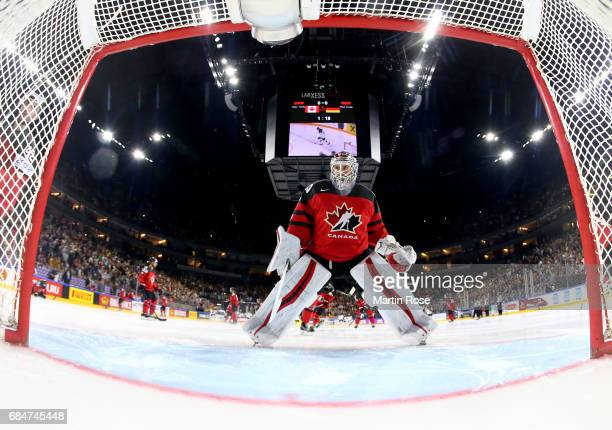 Calvin Pickard goaltender of Canada reacts during the 2017 IIHF Ice Hockey World Championship quarter final game between Canada and Germany at...