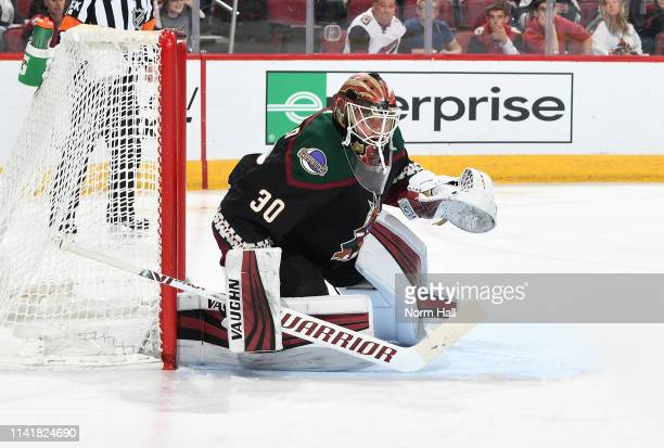Calvin Pickard of the Arizona Coyotes gets ready to make a save against the Winnipeg Jets at Gila River Arena on April 6 2019 in Glendale Arizona
