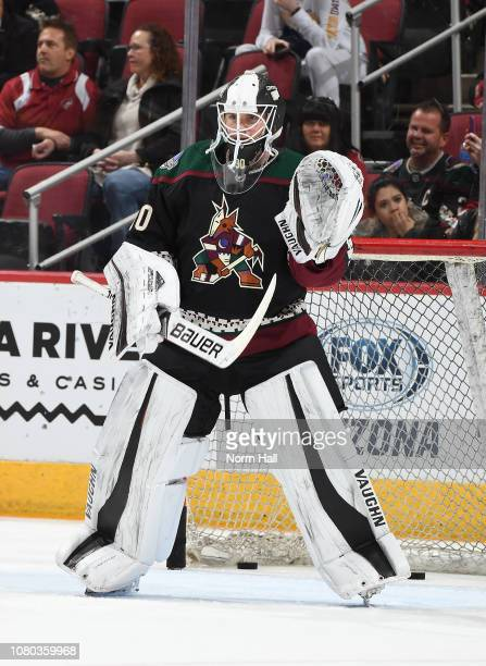 Calvin Pickard of the Arizona Coyotes prepares for a game against the Arizona Coyotes at Gila River Arena on December 8 2018 in Glendale Arizona