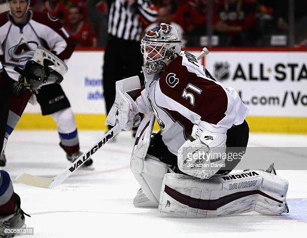 Calvin Pickard of the Colorado Avalanche follows the action against the Chicago Blackhawks at the United Center on December 23 2016 in Chicago...