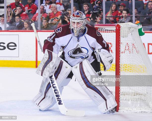 Calvin Pickard of the Colorado Avalanche in action against the Calgary Flames during an NHL game at Scotiabank Saddledome on March 27 2017 in Calgary...