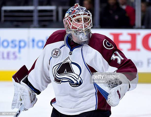 Calvin Pickard of the Colorado Avalanche looks for a deflected shot during the game against the Los Angeles Kings at Staples Center on January 27...
