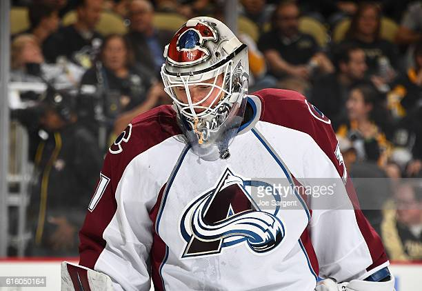 Calvin Pickard of the Colorado Avalanche looks on against the Pittsburgh Penguins at PPG Paints Arena on October 17 2016 in Pittsburgh Pennsylvania