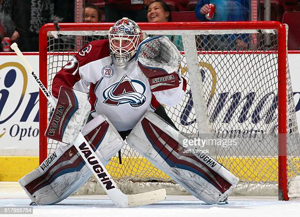 Calvin Pickard of the Colorado Avalanche looks on from his crease during their NHL game against the Vancouver Canucks at Rogers Arena February 21...