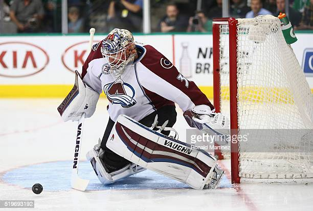 Calvin Pickard of the Colorado Avalanche makes a save against the Dallas Stars in the first period at American Airlines Center on April 7 2016 in...