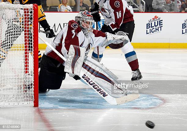 Calvin Pickard of the Colorado Avalanche makes a save in the second period during the game against Pittsburgh Penguins at PPG Paints Arena on October...