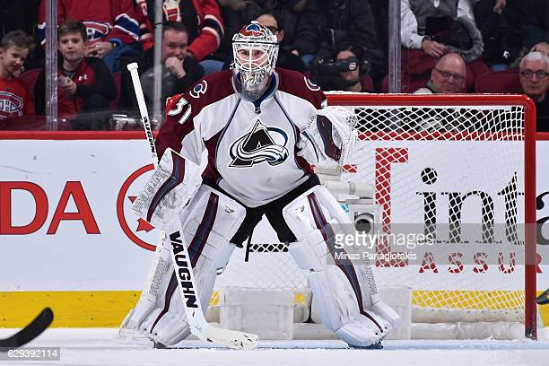 Calvin Pickard of the Colorado Avalanche protects his net during the NHL game against the Montreal Canadiens at the Bell Centre on December 10 2016...