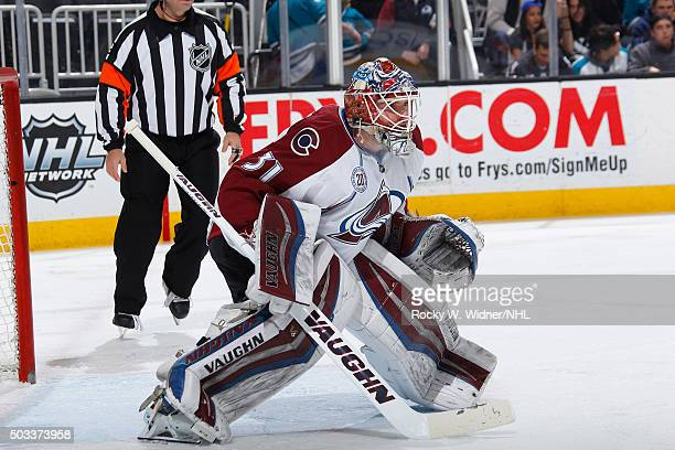 Calvin Pickard of the Colorado Avalanche protects the net against the San Jose Sharks at SAP Center on December 28 2015 in San Jose California