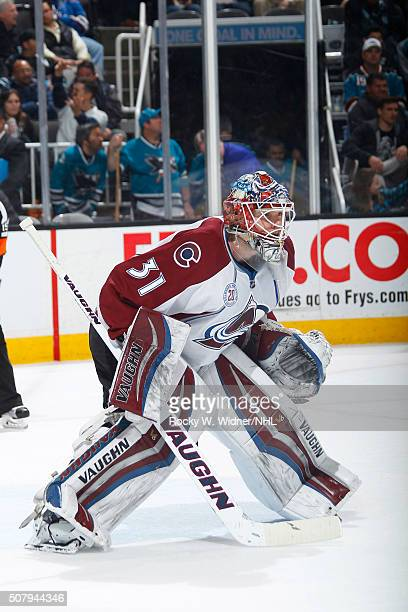 Calvin Pickard of the Colorado Avalanche protects the net against the San Jose Sharks at SAP Center on January 26 2016 in San Jose California