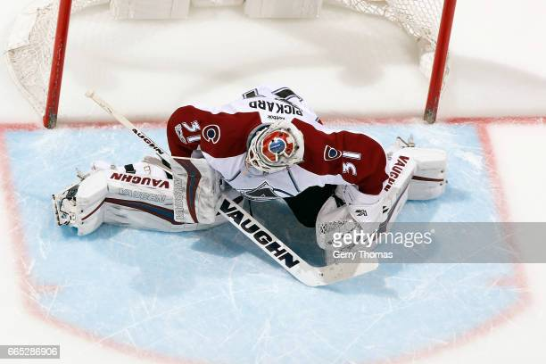 Calvin Pickard of the Colorado Avalanche skates against Calgary Flames during an NHL game on March 27 2017 at the Scotiabank Saddledome in Calgary...