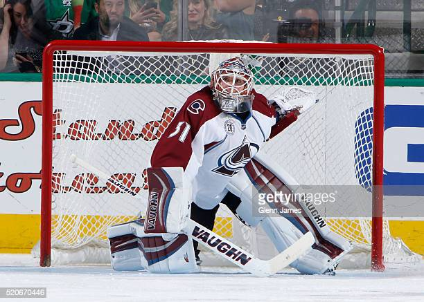 Calvin Pickard of the Colorado Avalanche tends goal against the Dallas Stars at the American Airlines Center on April 7 2016 in Dallas Texas