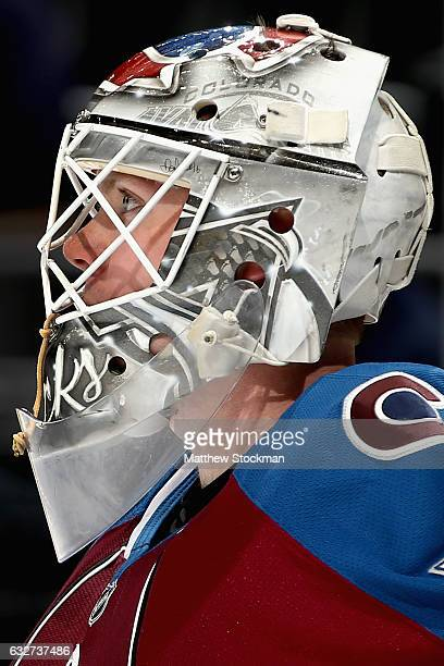 Calvin Pickard of the Colorado Avalanche tends goal against the Vancouver Canucks at the Pepsi Center on January 25 2017 in Denver Colorado