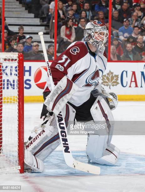 Calvin Pickard of the Colorado Avalanche tends net against the Ottawa Senators at Canadian Tire Centre on March 2 2017 in Ottawa Ontario Canada