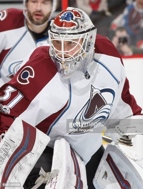 Calvin Pickard of the Colorado Avalanche tends net against the Ottawa Senators at Canadian Tire Centre on March 2 2017 in Ottawa Ontario Canada