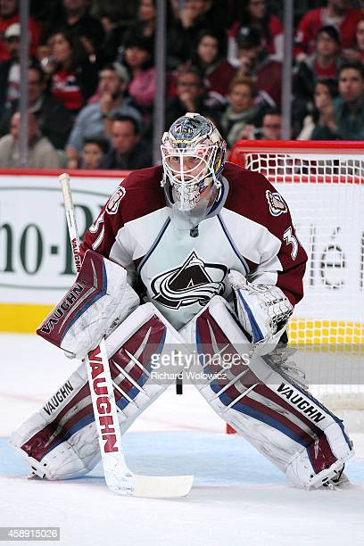 Calvin Pickard of the Colorado Avalanche watches play during the NHL game against the Montreal Canadiens at the Bell Centre on October 18 2014 in...