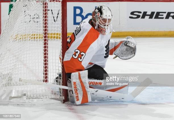 Calvin Pickard of the Philadelphia Flyers guards his net against the Ottawa Senators at Canadian Tire Centre on October 10 2018 in Ottawa Ontario...