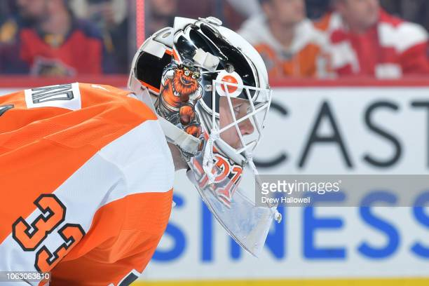 Calvin Pickard of the Philadelphia Flyers looks on against the Florida Panthers at the Wells Fargo Center on October 16 2018 in Philadelphia...