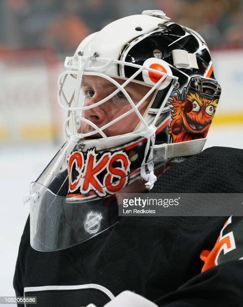 Calvin Pickard of the Philadelphia Flyers looks on during warmups prior to his game against the Vegas Golden Knights on October 13 2018 at the Wells...