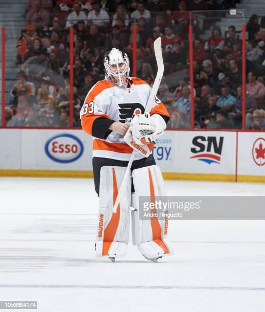 Calvin Pickard of the Philadelphia Flyers skates against the Ottawa Senators at Canadian Tire Centre on October 10 2018 in Ottawa Ontario Canada