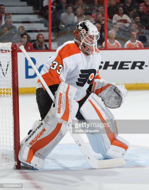 Calvin Pickard of the Philadelphia Flyers tends net against the Ottawa Senators at Canadian Tire Centre on October 10 2018 in Ottawa Ontario Canada