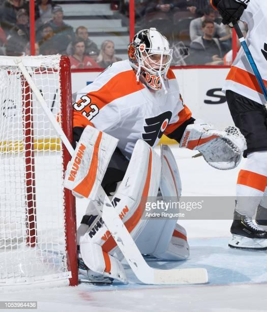 Calvin Pickard of the Philadelphia Flyers tends net against the Ottawa Senators at Canadian Tire Centre on October 10 2018 in Ottawa Ontario Canada