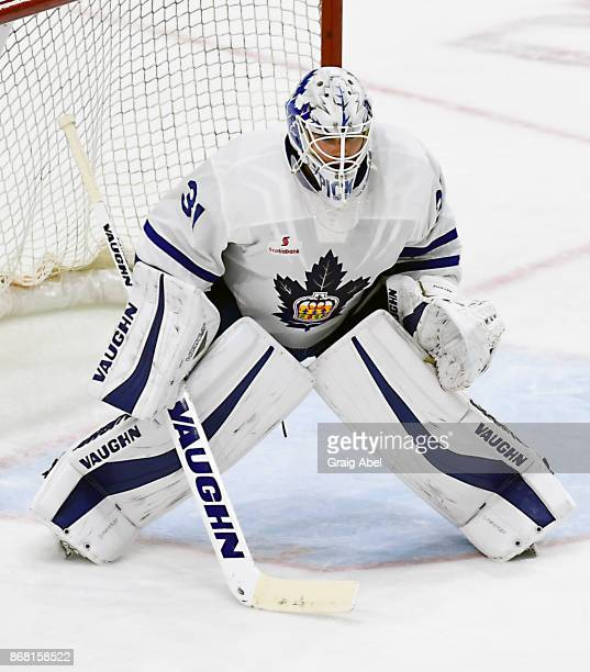 Calvin Pickard of the Toronto Marlies prepares for a shot against the Laval Rocket during AHL game action on October 28 2017 at Ricoh Coliseum in...