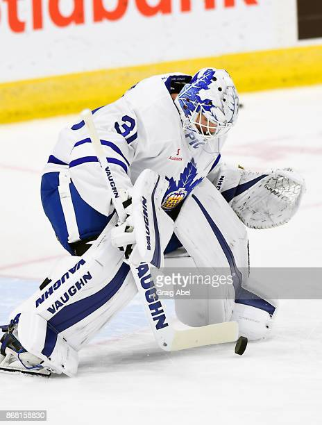 Calvin Pickard of the Toronto Marlies skates in warmup prior to a game against the Laval Rocket on October 28 2017 at Ricoh Coliseum in Toronto...