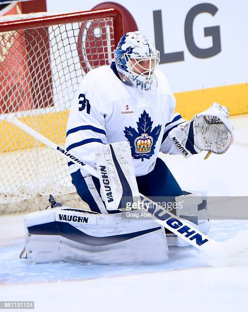 Calvin Pickard of the Toronto Marlies skates in warmup prior to a game against the Belleville Senators on November 25 2017 at Air Canada Centre in...