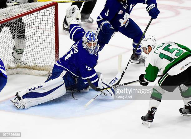 Calvin Pickard of the Toronto Marlies stops a shot against Austin Fyten of the Texas Stars during game 6 of the AHL Calder Cup Final on June 12 2018...