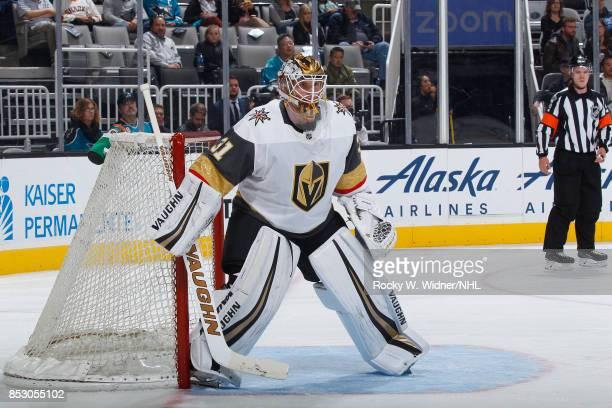 Calvin Pickard of the Vegas Golden Knights defends the net against the San Jose Sharks at SAP Center on September 21 2017 in San Jose California