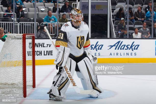 Calvin Pickard of the Vegas Golden Knights defends the net against the San Jose Sharks at SAP Center on September 21 2017 in San Jose California