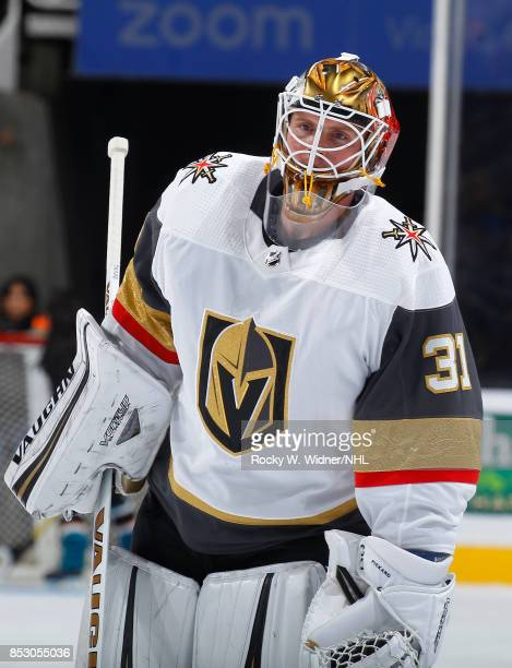 Calvin Pickard of the Vegas Golden Knights looks on during the game against the San Jose Sharks at SAP Center on September 21 2017 in San Jose...