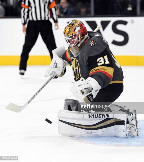 Calvin Pickard of the Vegas Golden Knights makes a save during a preseason game against the Los Angeles Kings at TMobile Arena on September 26 2017...
