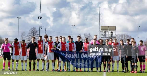 Calvin Raatsie of Ajax U19, Liam van Gelderen of Ajax U19, Neraysho Kasanwirjo of Ajax U19, Devyne Rensch of Ajax U19, Terrence Douglas of Ajax U19,...