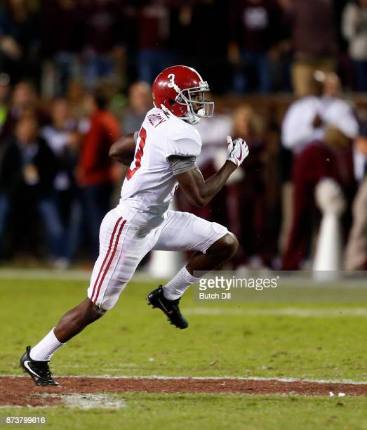 Calvin Ridley of the Alabama Crimson Tide catches a pass during the second half of an NCAA football game against the Mississippi State Bulldogs at...