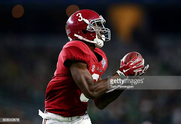 Calvin Ridley of the Alabama Crimson Tide completes a 50 yard touchdown pass in the third quarter against the Michigan State Spartans during the...
