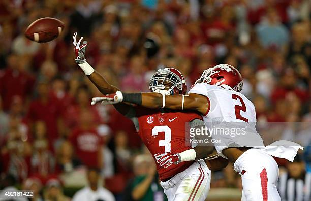 Calvin Ridley of the Alabama Crimson Tide fails to pull in this touchdown reception against D.J. Dean of the Arkansas Razorbacks at Bryant-Denny...