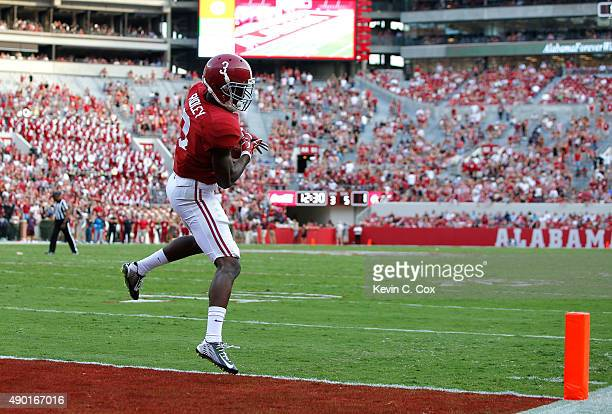Calvin Ridley of the Alabama Crimson Tide fails to pull in this touchdown reception against the Louisiana Monroe Warhawks at BryantDenny Stadium on...