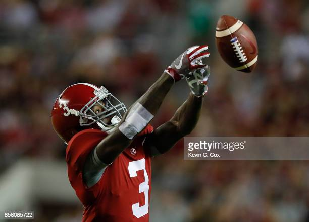 Calvin Ridley of the Alabama Crimson Tide fails to pull in this reception against the Mississippi Rebels at BryantDenny Stadium on September 30 2017...