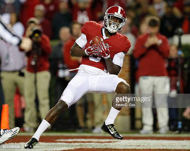 Calvin Ridley of the Alabama Crimson Tide pulls in this touchdown reception against the Chattanooga Mocs at BryantDenny Stadium on November 19 2016...