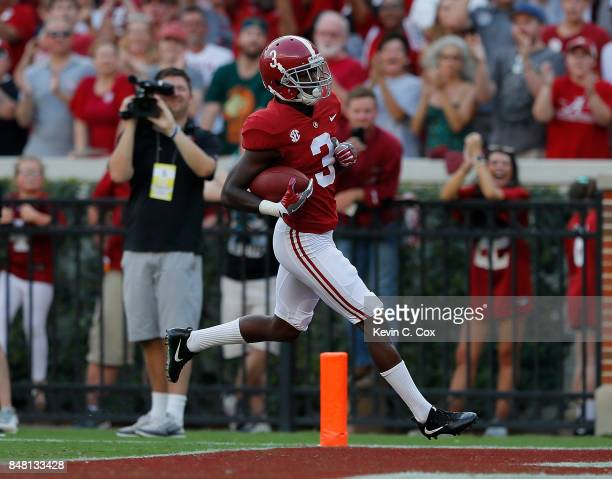 Calvin Ridley of the Alabama Crimson Tide rushes in for a touchdown against the Colorado State Rams at BryantDenny Stadium on September 16 2017 in...