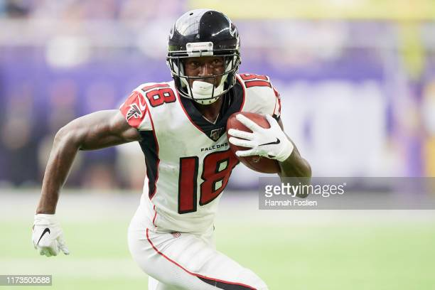 Calvin Ridley of the Atlanta Falcons carries the ball against the Minnesota Vikings during the game at U.S. Bank Stadium on September 8, 2019 in...