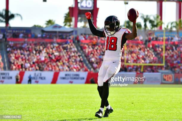 Calvin Ridley of the Atlanta Falcons celebrates as he runs into the endzone to score during the fourth quarter against the Tampa Bay Buccaneers at...