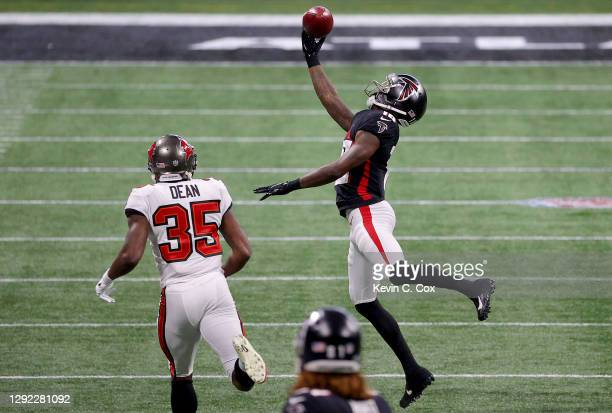 Calvin Ridley of the Atlanta Falcons fails to catch a pass against the Tampa Bay Buccaneers during the second quarter in the game at Mercedes-Benz...