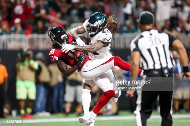 Calvin Ridley of the Atlanta Falcons makes a reception for a touchdown in front of defender Ronald Darby of the Philadelphia Eagles during the first...